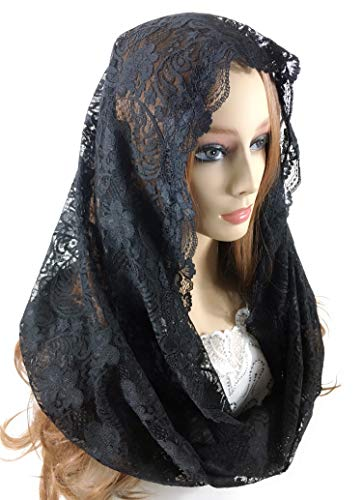 Pamor Infinity Latin Mass Catholic Veil Lace Scarf Head Covering Mantilla Veils for Church