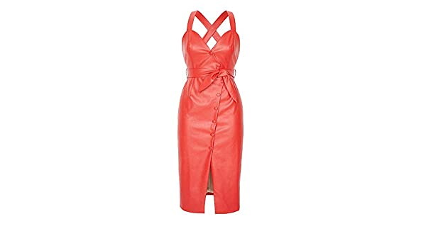 348bbd6ff462 Mint Limit Womens Faux Leather Bodycon Dress Button Down Party Bandage Midi  Dresses Red at Amazon Women's Clothing store: