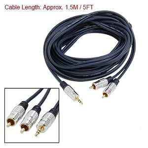 5FT plateado de oro de 3,5 mm a 2 RCA AV Cable conector de audio