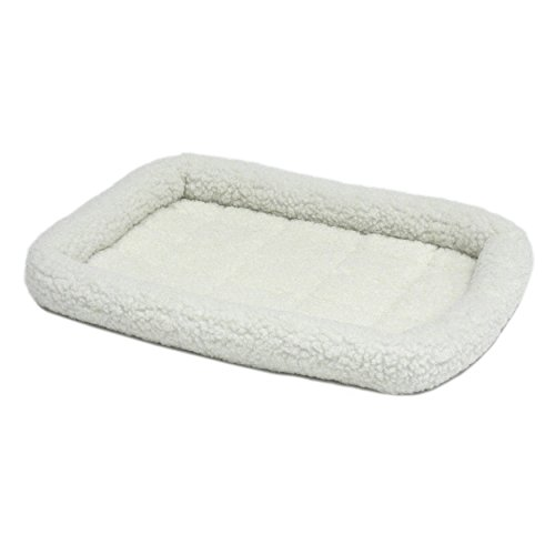 1 Piece White Jumbo Crate Pad, Bolster Edges Pet Bed Waterproof Pet Mat 54 Inches Solid Non Skid Fluffy Poly-Fiber Cotton/Poly Construction Soft Fleece Comfortable Rectangle, Polyester