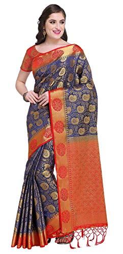 (Rajnandini Women's Silk Zari Weaving Work Kanjivaram Rich Pallu Saree With Blouse (JOPLNS2001A_Navy Blue_Free Size))