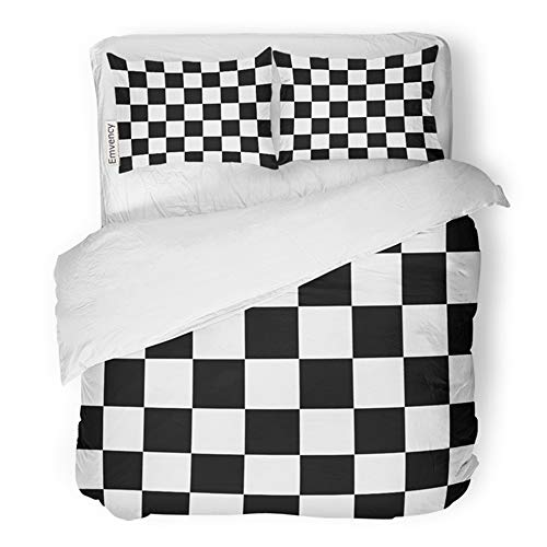 Emvency Bedding Duvet Cover Set Twin (1 Duvet Cover + 1 Pillowcase) Checkered Finish Flag Abstract Auto Black Board Hotel Quality Wrinkle and Stain - Auto Set Chess