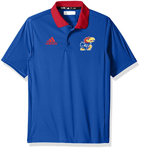 adidas NCAA Kansas Jayhawks Adult Men NCAA Sideline Coaches Polo, Medium, Collegiate Royal