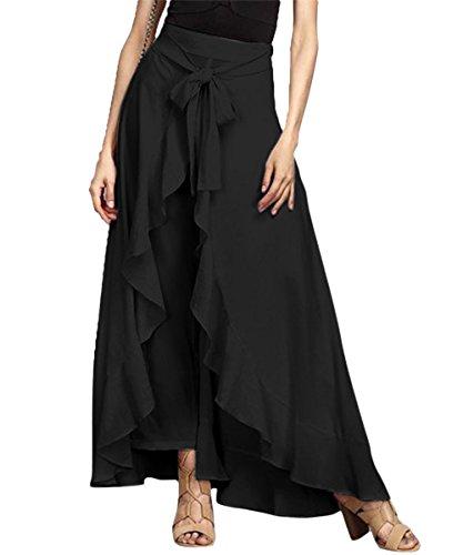 Misschicy Womens Ruffled Irregular mousseline pantalons High Waisted long Party Skirt robe pour Culottes Noir