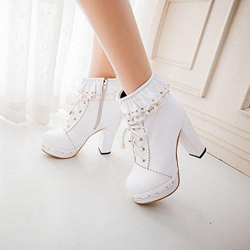 Mee Shoes Damen süß Borte Reißverschluss chunky heels Plateau Ankle Boots Weiß