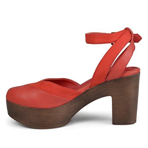 Brinley Co Womens Rheya Faux Leather Faux Suede Ankle Wrap Platform Heels Red aFkZNGP0