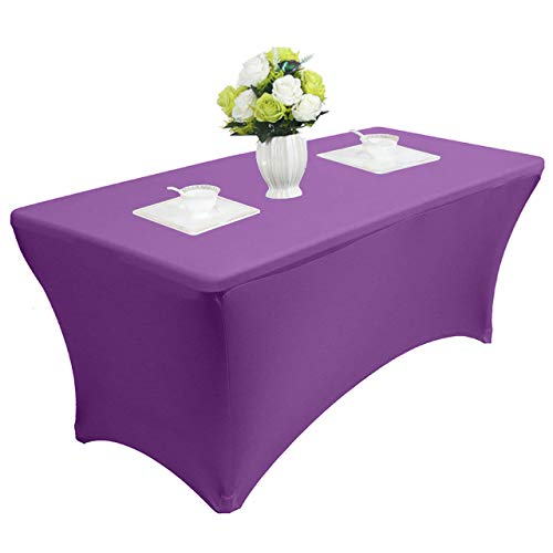 (Reliancer 4\6\8FT Rectangular Spandex Table Cover Four-Way Tight Fitted Stretch Tablecloth Table Cloth for Outdoor Party DJ Tradeshows Banquet Vendors Weddings Celebrations (8FT,Purple))