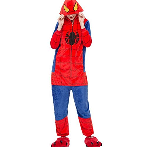 Unisex Warm Pajamas for Adult Cosplay Costume Animals Sleepwear. (Medium(158-168cm), Spiderman)]()