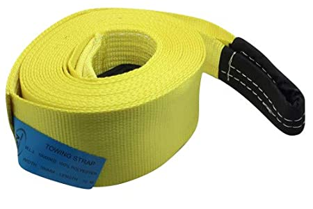 DiversityWrap 10T Tow Strap Heavy Duty Tow Rope Towing Pull Strap Recovery Winch 4x4 Offroad Yellow (5m (16.4ft))