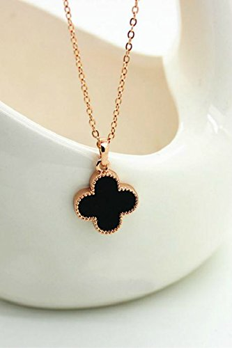 Generic Republic Korea, trendy_18K_rose_gold_four_leaf_grass_ necklace pendant women girls _minimalist_lucky_four_leaf_grass_clavicle_ chain