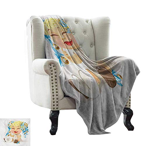 Cheap Weighted Blanket for Kids Zodiac Aries Happy Smiling Baby with Bells Tied up to His Horns Birth and Future Theme Multicolor Couch/Bed Super Soft and Warm Durable Throw Blanket 60