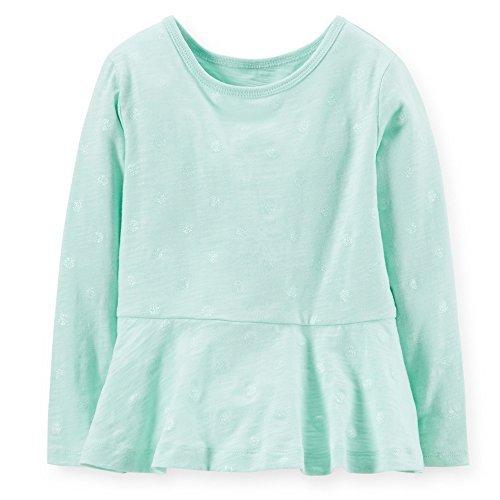 87e39d023105 Amazon.com: Carter's Little Girls' Ruffle Hem Glitter Tee Mint - 8 ...