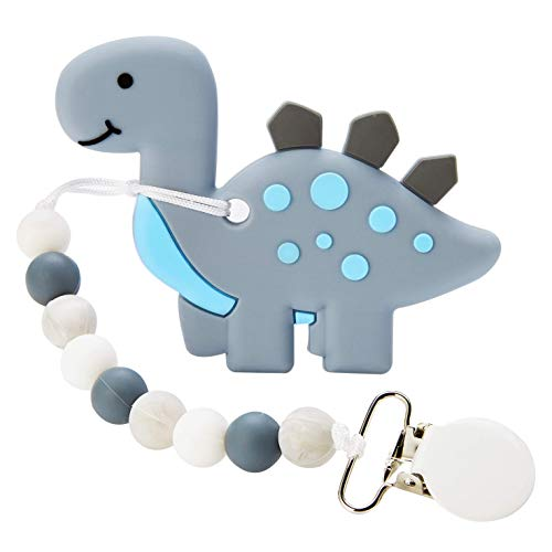 Baby Teething Toys, Dinosaur Teether Pain Relief Toy with Pacifier Clip Holder Set for Newborn Babies, Neutral Shower Gift for Boys and Girls
