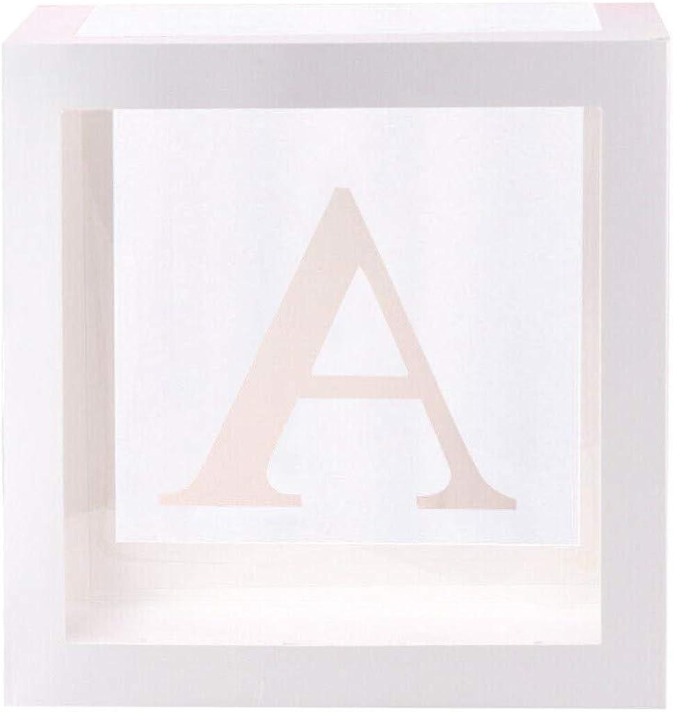 y Compris Les Lettres de b/éb/é pour Fille gar/çon pour Les Fournitures de f/ête /&a WLONLINE Kit de d/écoration de Douche de b/éb/é 4pcs bo/îtes de Douche de b/éb/é carr/é Blanc Transparent