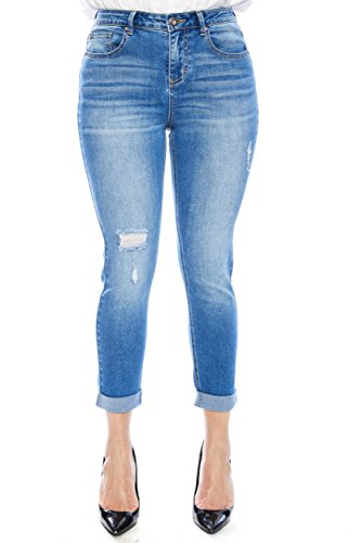 Rise Leg Wide Jeans Mid (Zelle Belle Women's Mid Rise Cropped Leg Denim Jeans)