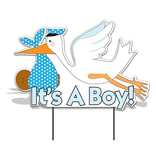 Stork With Baby (VictoryStore Yard Sign Outdoor Lawn Decorations - It's a Boy Stork, Baby Announcement Yard Sign (Dark Skin Toned)