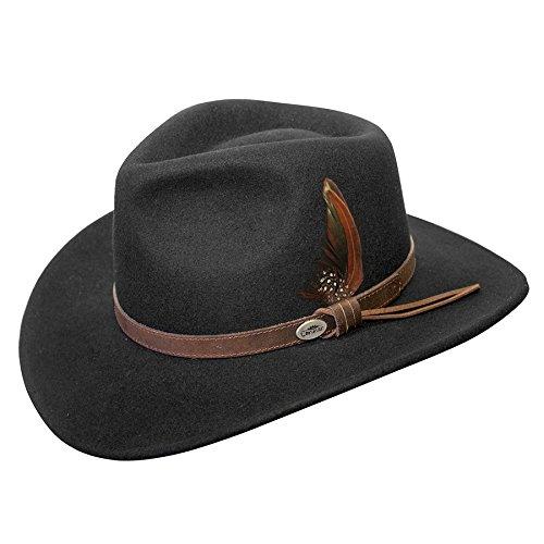 Conner Hats Men's Aussie Wool Crusher Hat, Black, M ()