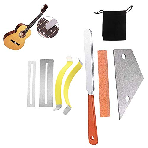 Activists 7pcs Guitar Luthier Tool Kit Included 1 Fret File, 1 Stainless Steel Fret Rocker, 2 Metal String Spreaders, 2 Fingerboard Guards Protectors and Grinding Stone for Guitar and Bass Repair
