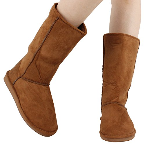 Womens Comfort Winter Snow Warm Soft Mid Calf Faux Suede Boots, Tan Suede, 6.5