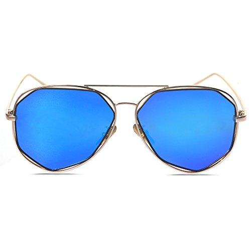 goldenen blau Objektiv soleil de Rahmen Femme SRANDER Lunette qYxRI1w46
