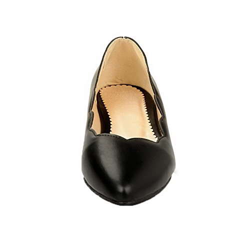 Toe AmoonyFashion Solid Low Pointed PU Pumps Heels Shoes Pull Black On Womens Sqcrqft