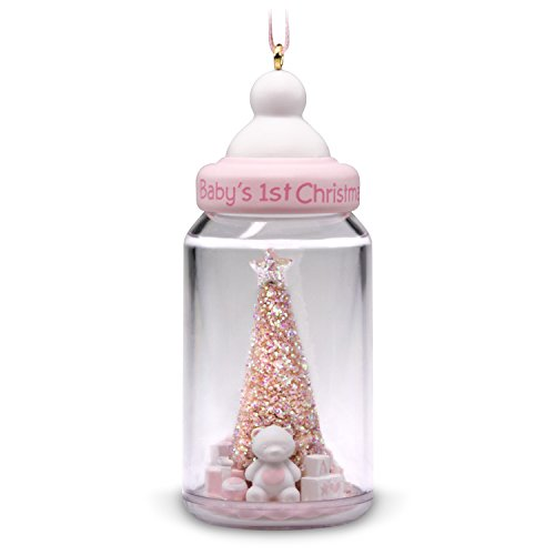 Hallmark Keepsake Christmas Ornament 2018 Year Dated, Baby Girl's First Christmas Baby Bottle