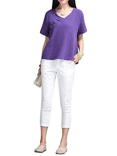 women-short-sleeve-chinese-v-neck-cotton-linen-blouse