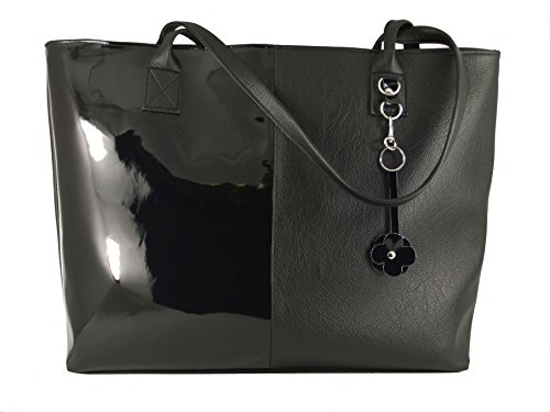 Shopper Leather Patent Bag (LONI Womens Tote Shoulder Bag Shopper in Faux Leather/Patent)
