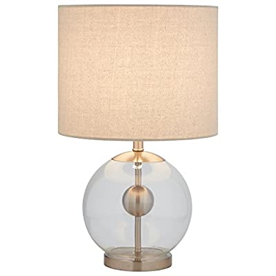"Stone & Beam Pearl Modern Glass Orb Lamp, With Bulb, Linen Shade, 19.5"" x 11.5"" x 11.5"" , Silver - This lamp is sure to turn heads with its impressive style. A brushed steel pole and round orb appear to float within a glass globe. An off-white textured linen shade adds enough of a classic touch to help this lamp blend with your existing styles. Bold modern design Brushed steel hardware within glass ball, textured linen shade - lamps, bedroom-decor, bedroom - 4153RER nJL. SS400  -"
