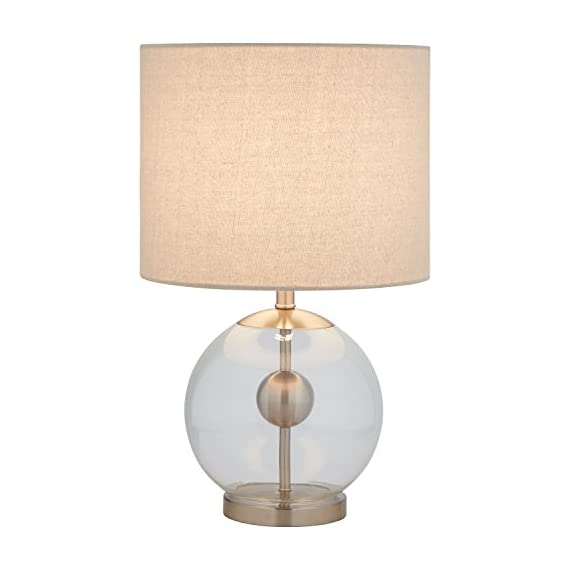 Stone & Beam Pearl Modern Glass Orb Living RoomTable Lamp With Bulb And Linen Shade - 19.5 x 11.5 x 11.5 Inches, Silver - This lamp is sure to turn heads with its impressive style. A brushed steel pole and round orb appear to float within a glass globe. An off-white textured linen shade adds enough of a classic touch to help this lamp blend with your existing styles. Bold modern design Brushed steel hardware within glass ball, textured linen shade - lamps, bedroom-decor, bedroom - 4153RER nJL. SS570  -