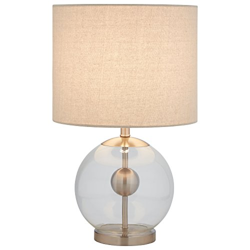"""4153RER nJL - Stone & Beam Pearl Modern Glass Orb Lamp, With Bulb, Linen Shade, 19.5"""" x 11.5"""" x 11.5"""", Silver"""