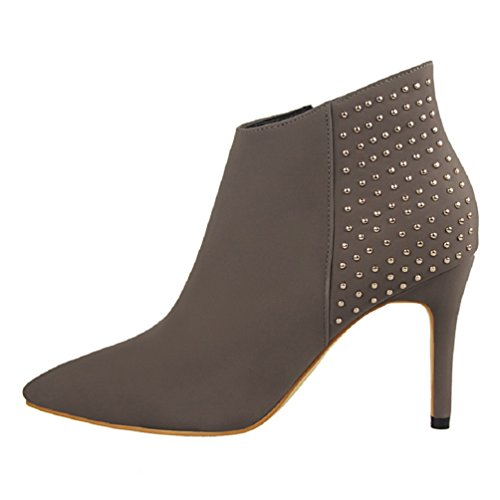 HooH Women's Pointed Toe Retro Rivet Stiletto Ankle Boots Khaki mLnh4d9