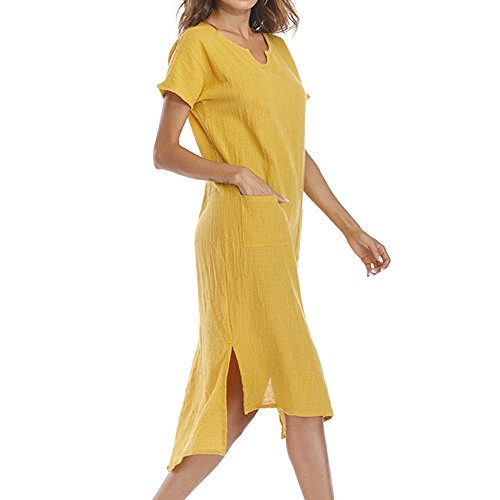 ✩HebeTop Women Long Sleeve Loose Knit Maxi Dresses Casual Long Dresses with Pocket Yellow