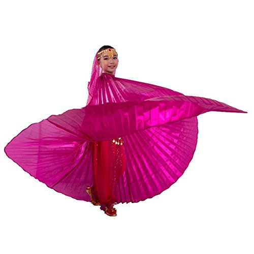 Pilot-trade Children's Egyptian Egypt Isis wings Belly Dance Costume full Isis Wings Dark Pink (Dark Dance Costumes)