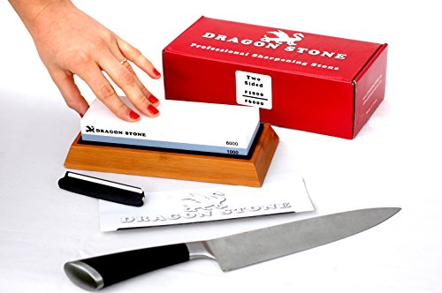 Premium Two Sided Dragon Stone Knife Sharpening Whetstone 2 Side Grit 1000#/6000# Whetstone Size 7.1 x 2.4 x 1.1 inches. Free NonSlip Bamboo Base & Angle Guide. Complete BEST Knife Sharpening Kit