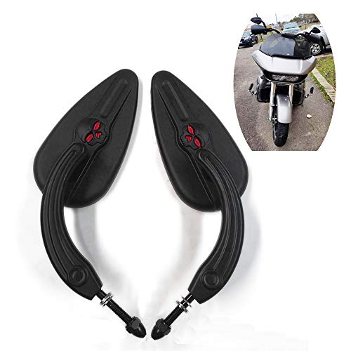 HTTMT MT383-SC-BK Black Teardrop Skull Zombie Mirrors Compatible with Harley Sportster Dyna Touring Dyna Wide Glide EFI FXDWGI