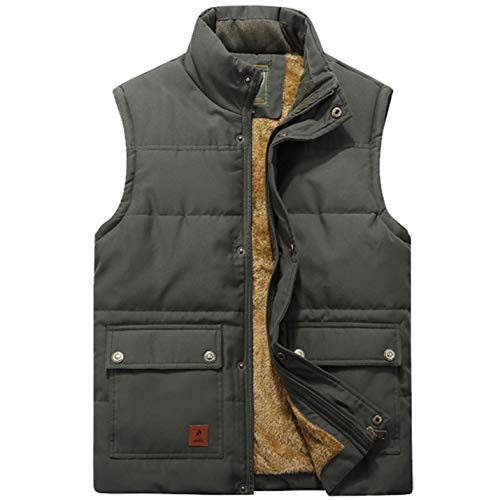 (Flygo Men's Winter Warm Outdoor Padded Puffer Vest Thick Fleece Lined Sleeveless Jacket (Style 02 Army Green, Large))