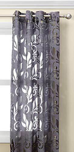 Common Wealth Home Fashions Amelia Floral Burnout Curtain Panel, 50 x 95