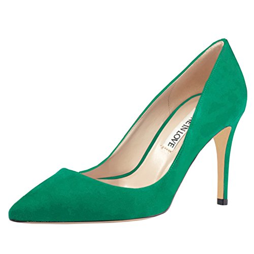 - June in Love Women's Middle Heels Shoes Pointy Toe for Daily Usual Girls Lady Pumps Suede Green 10.5 US
