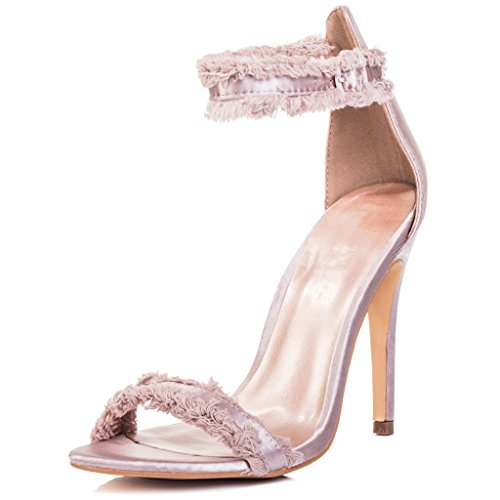 SPYLOVEBUY POLLY Women's Adjustable Buckle High Heel Sandals Shoes Champagne Satin Style