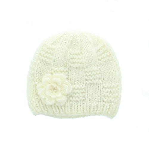 Milani Women's Warm Fashion Hand Knit Beanie Cap With Crochet Flower Design in White B0025