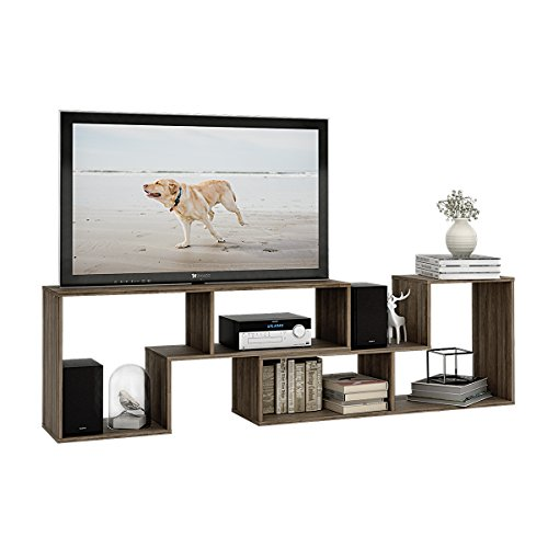 DEVAISE 3-in-1 Versatile TV Stand Bookcase Display Cabinet by Gray Oak (0.6'' thickness) by DEVAISE