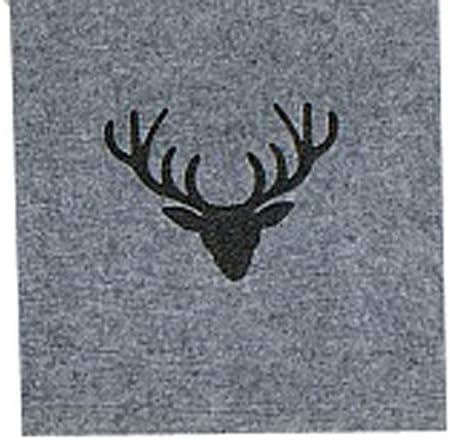 Boltze Collections Tjark Felt Table Runner Grey with Stag Head 120 x 30 cm Felt Runner