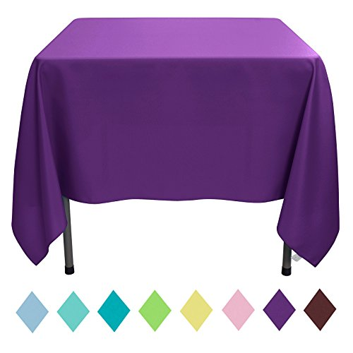VEEYOO Square Table Cloth 70 inch Solid Polyester Tablecloth for Wedding Restaurant Party Home, Purple