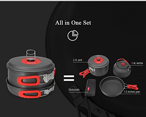 OutLife ALOCS CW - C19T Alumina Ultralight Outdoor Camping Hiking Nonstick Safe Cookware Set for 2 - 3 People,Black