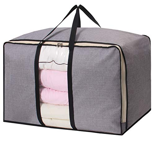 SLEEPING LAMB Large Storage Bag Waterproof Foldable Clothes Organizer Bag for Comforters Blankets Clothes Bedding Under Bed Storage with Two Handles, Grey