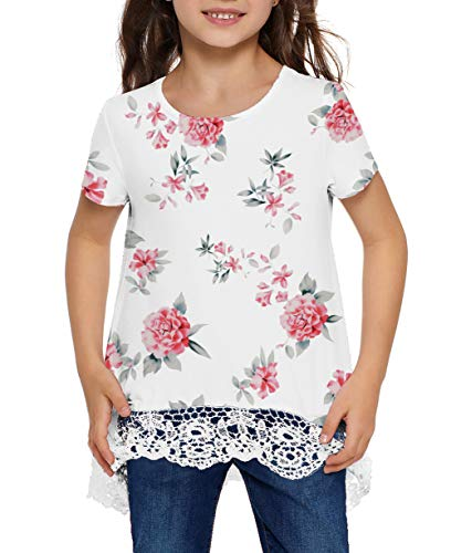 storeofbaby Girls Casual Tunic Tops Short Sleeve Loose Soft Blouse T-Shirt for 4-13 Years 3