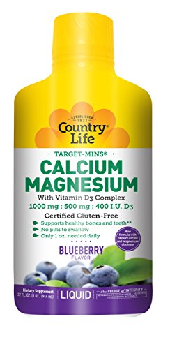 Country Life Liquid Target Mins - Calcium Magnesium with Vitamin D3 Complex, Natural Wild Blueberry Flavor - 32 fl. Ounce