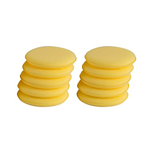Aumo-mate 10pcs Waxing Polish Wax Foam Sponge Applicator Pads Fit for Clean Car Vehicle Auto Glass 5 ()