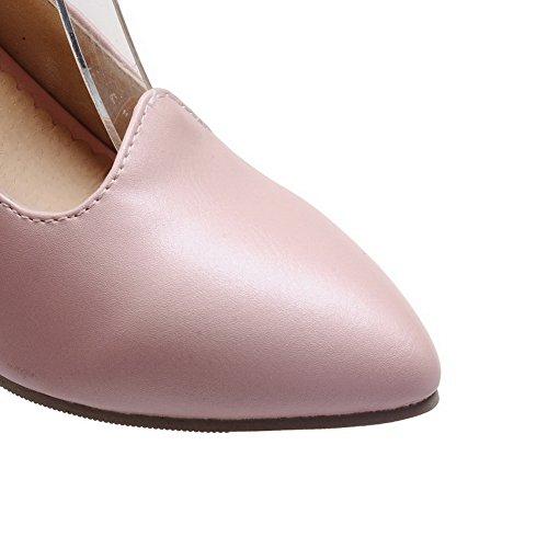 Amoonyfashion Damesschoenen Met Hoge Hak Pu Solide Gesp Gesloten-teen Pumps-schoenen Roze